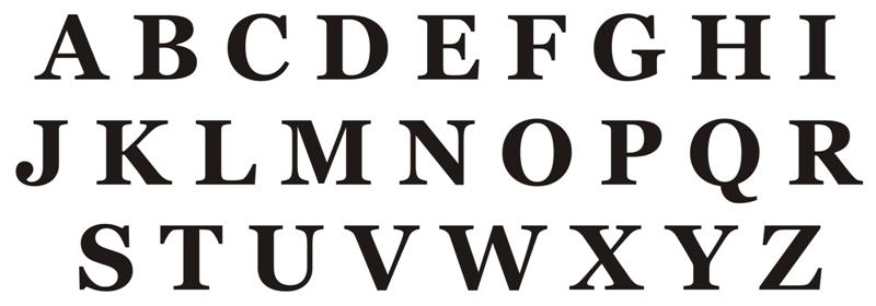 Alphabet georgia majuscules pochoir plastique