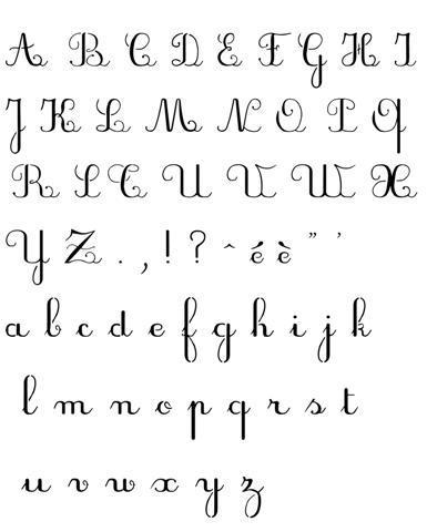 Pochoir d 39 alphabet manuscrit script majuscules minuscules - Lettre alphabet majuscule ...