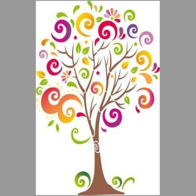 pochoir arbre à spirales