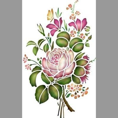 pochoir bouquet de fleurs pivoines
