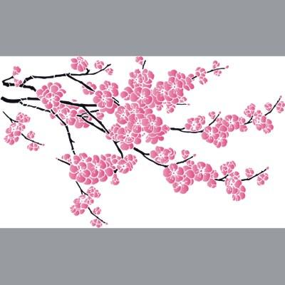 pochoir branche de cerisier fleurie