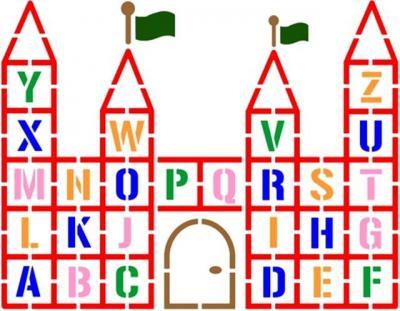 Pochoir  jeu du chateau alphabet pour écoles