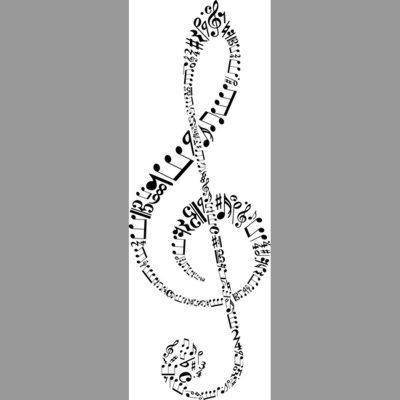 pochoir clé de sol, notes de musique