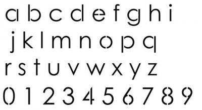 Pochoir alphabet et chiffres script