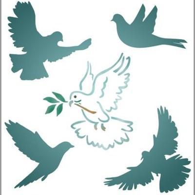 pochoir ensemble de colombes