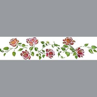 pochoir frise roses anciennes