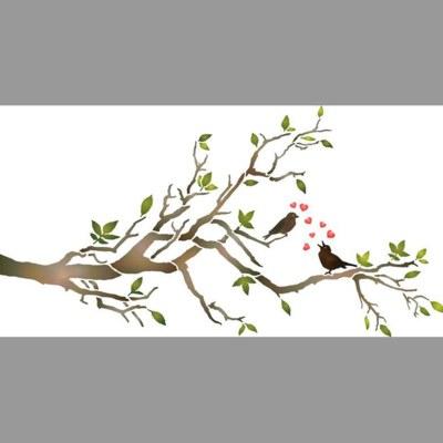 Pochoir oiseaux amoureux sur une branche for Pochoir oiseau