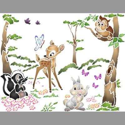 pochoir paysage bambi