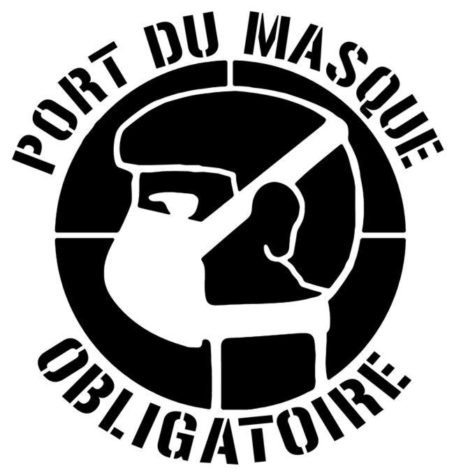 Pict652 port du masque obligatoire pochoir a peindre signalisation prevention sanitaire covid 19