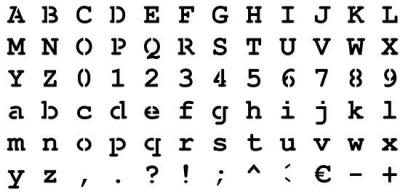 Pochoir alphabet Courrier