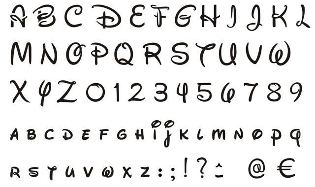 lettre walt disney pochoir alphabet Walt Disney majuscules minuscules chiffres lettre walt disney