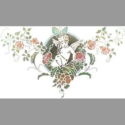 pochoir ange fleurs