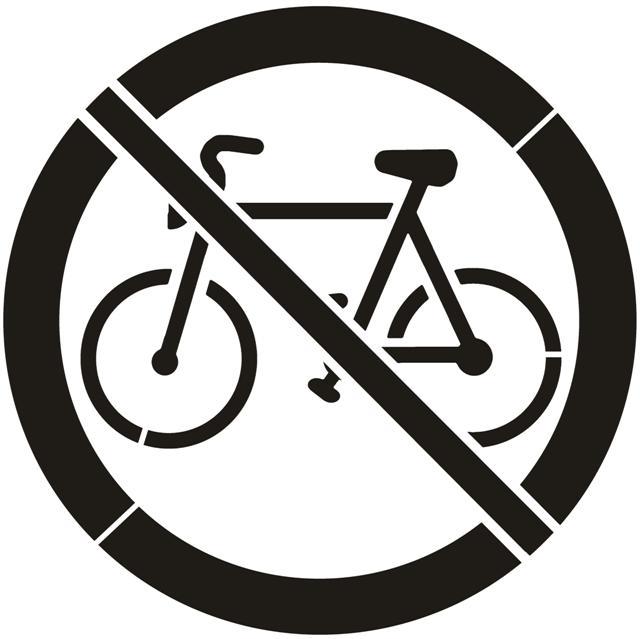 Pochoir interdit aux velos bicycles panneau