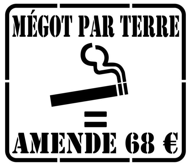 Signal6894 megot par terre amende 68 euros proprete urbaine pochoir pour trottoir pochoirs signalisation mon artisane