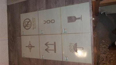 pochoirs de pictogrammes caisse