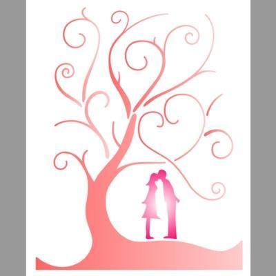pochoir arbre amoureux