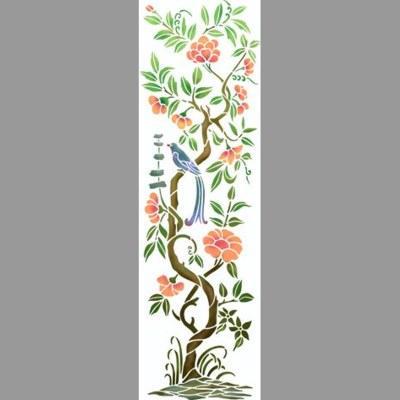 pochoir arbre de vie oiseau bleu