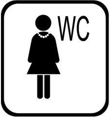 Autocollant wc noir blanc femme