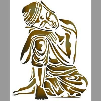pochoir bouddha assoupi