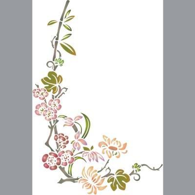 pochoir branche fleurie style asiatique