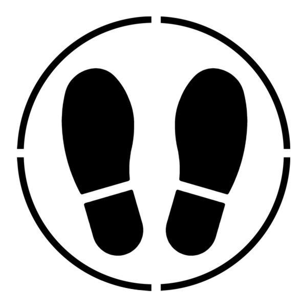D5471 pochoir a peindre traces de pieds cercle prevention covid