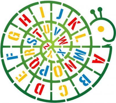 Pochoir escargot alphabet pour école