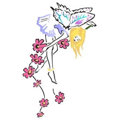 pochoir fée entourée de fleurs