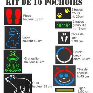 Kit 10 pochoirs cour ecole recreation jeu enfant medium