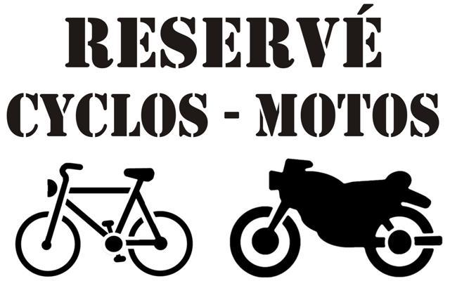 Marq10387 reserve cyclos motos pochoir marquage au sol