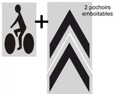 Chevrons + vélo pour piste cyclable