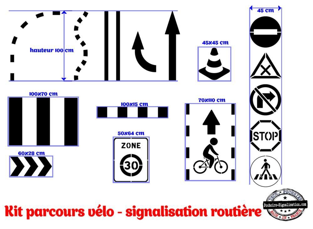 Marquage cour d ecole parcours velo circuit pochoirs signalisation