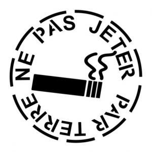 Megot de cigarette ne pas jeter par terre amende de 68 euros pochoirs signalisation mon artisane interdit de fumer p