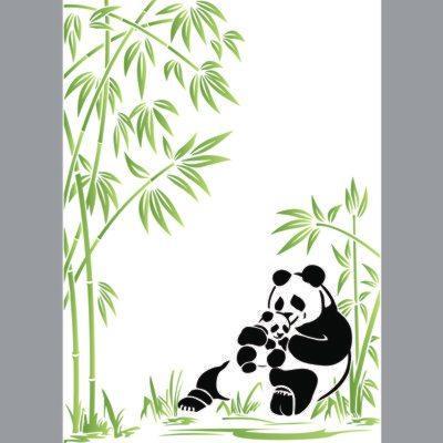 pochoir panda, bambou