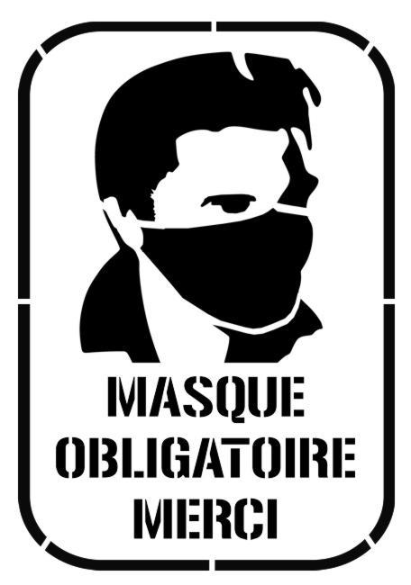 Pict698 masque obligatoire pochoir anti covid 19 prevention sanitaire
