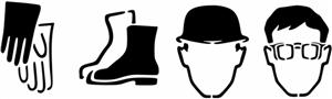 Pictos securite gants casque lunettes chaussures