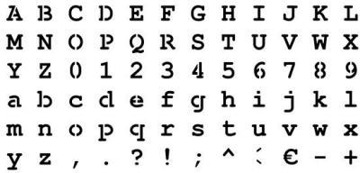 Pochoir alphabet Courrier