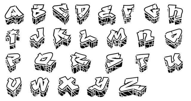 Pochoir alphabet graffitis graphitis
