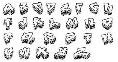 Pochoir alphabet Graffitis