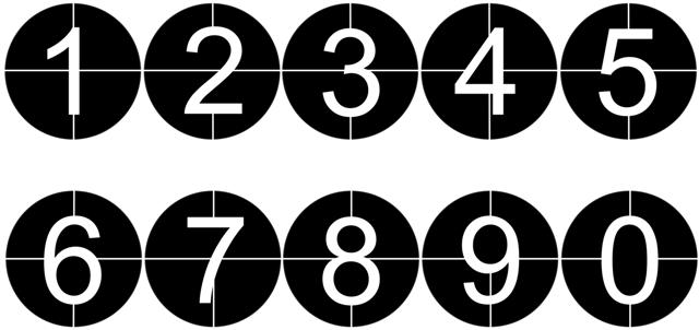 Pochoir chiffres encercles 0 a 9 small