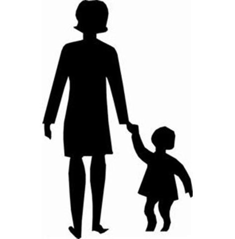 Pochoir femme enfant ecole