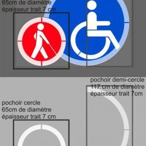 Pochoir malvoyant handicape avec cercle autour marquage parking