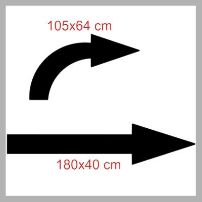 Pochoirs fleches parking droite et courbee dimensions p