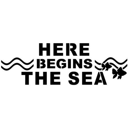 Stencil pochoir here begins the sea poissons