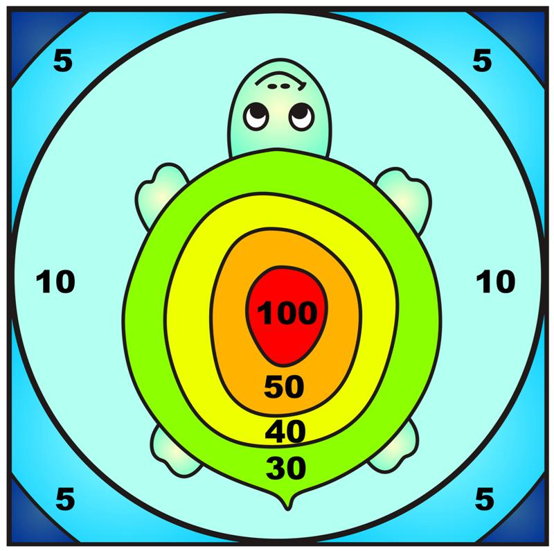 Sticker autocollant cible tortue ecole